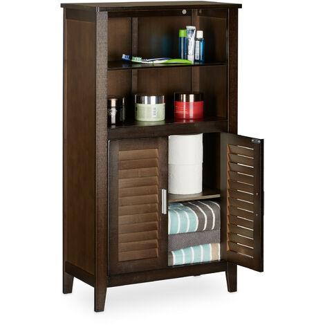 Relaxdays LAMELL Dark Brown Bathroom Cabinet, Bamboo Floor Cupboard, Telephone Cabinet, Kitchen Storage Unit, HxWxD: 92 x 50 x 25.5 cm