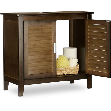 Relaxdays LAMELL Dark Brown Under-Sink Cabinet, Bamboo, Bathroom Basin Cupboard, Storage Unit, HxWxD: 60 x 67 x 30 cm