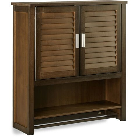 Relaxdays LAMELL Dark Brown Wall Cabinet, Bamboo Bathroom Cupboard with Towel Holder, 3 Shelves, 66 x 62 x 20 cm