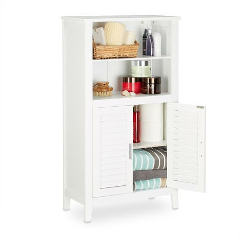 Relaxdays LAMELL White Bathroom Cabinet, Bamboo Floor Cupboard, Telephone Cabinet, Kitchen Storage Unit, HxWxD: 92 x 50 x 25.5 cm