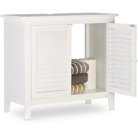 Relaxdays LAMELL White Under-Sink Cabinet, Bamboo, Bathroom Basin Cupboard, Storage Unit, HxWxD: 60 x 67 x 30 cm