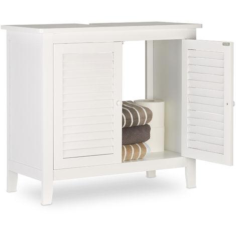 Relaxdays LAMELL White Under-Sink Cabinet, Bamboo, Bathroom Basin Cupboard, Storage Unit, HxWxD: 60 x 67 x 30 cm