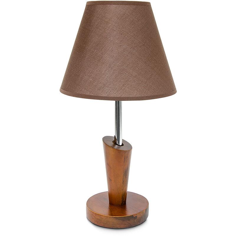 Lampada da Scrivania, Moderna, Asimmetrica, Comodino, Marrone - RELAXDAYS
