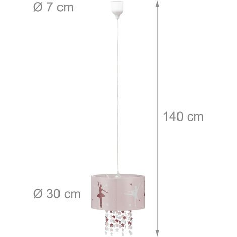 Lampadario da soffitto per bambina lampada a sospensione da bambini con ballerina stelle mobili cameretta rosa - 2100228471993
