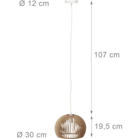 Lampadario da Soffitto Sferico, Lampada a Sospensione, Legno, E27, HLP 129 x 30 x 30 cm, Beige/Bianco - 7100228427450