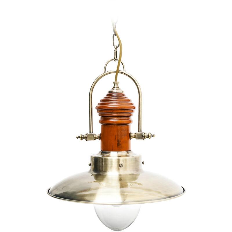 Lampadario da Soffitto, Stile Industriale, Steampunk, Ferro/Legno, Ottone, 35 x 35 x 106 cm