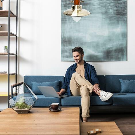 Lampadario da Soffitto, Stile Industriale, Steampunk, Ferro/Legno, Ottone, 35 x 35 x 106 cm - 2100184906039