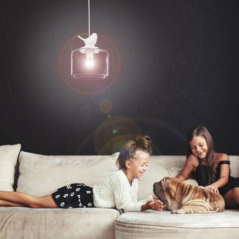 Lampadario lampada a sospensione, soffitto, look vintage e retrò, uccellino decorativo, attacco E27, trasparente - 7100206647741
