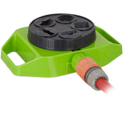 "Relaxdays Large Area Sprinkler with 5 Options, 1/2"" Connector, Lawn Irrigation, 100 m², Garden Watering, Green-Black"