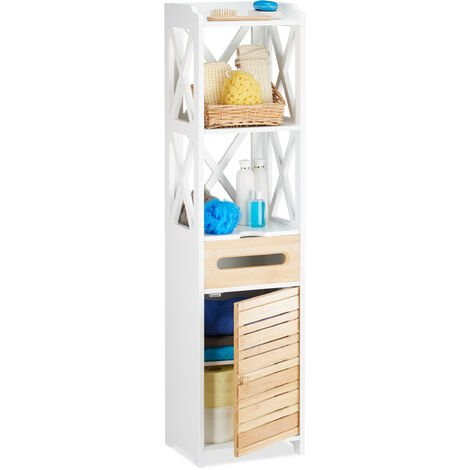 Relaxdays Large Cabinet with 6 Shelves, Multipurpose for Bathroom or Kitchen, Narrow Shelving Cupboard for Corners, White