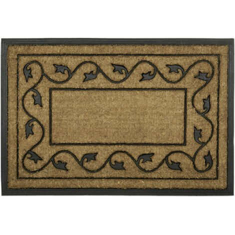 Relaxdays Large Doormat made of Natural Coir & Anti-Slip PVC Rubber, Floor Mat for Indoors & Outdoors with Decorative Pattern, Eco-Friendly Rectangular Door Mat Welcome Mat, 2 x 90 x 60 cm, Natural