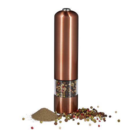 Relaxdays Large Electric Pepper Mill, Stainless Steel, Ceramic Grinder, Battery-Powered, Bronze