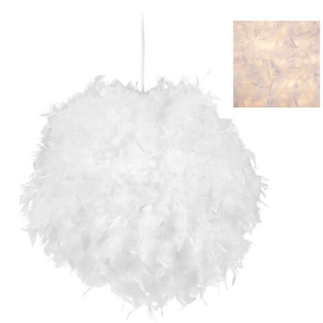 Relaxdays Large Feathered Pendant Lamp for Nursery & Bedroom, E 27, Decorative Ceiling Light, Sphere D 40 cm, White