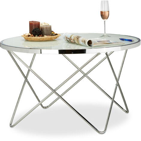 Relaxdays Large Glass Side Table, Chrome, Frosted Glass, Couch Table, Coffee Table, Elegant, Steel, HxWxD: 48 x 85 x 85 cm, Silver