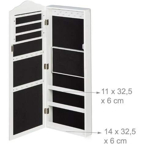 Relaxdays Large Jewellery Case, Magnetic Closing System, Lock & Key, Wall-Mounted, Hanging, 96.5 x 35 x 9.5 cm, White
