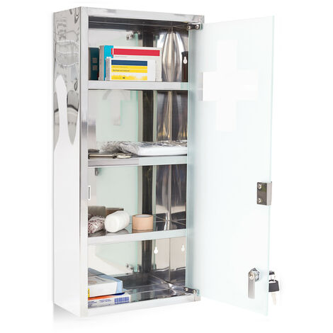 Relaxdays Large Medicine Cabinet, 57 x 27 x 12 cm, Stainless Steel, Lockable, 4 Shelves, With Frosted Glass Door, Silver