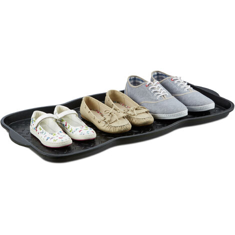 Relaxdays Large Shoe Drip Tray, Plastic Shoe Organizer Drip Pan for 6 Shoes, Doormat HWD: 3 x 75 x 38 cm, Black
