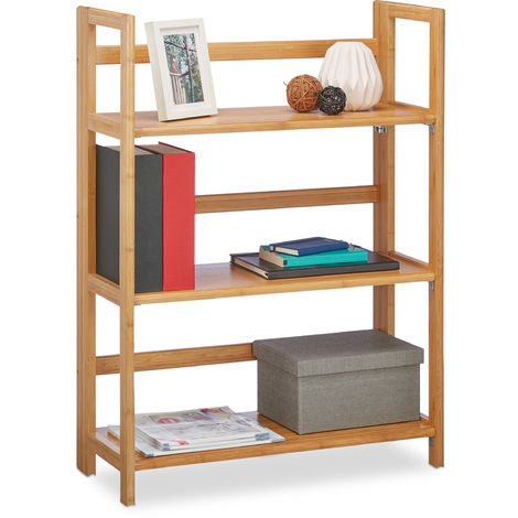 Relaxdays Large Wooden Folding Shelf, Bamboo Shelving Unit w/ 3 Tiers, Foldable, HxWxD: 95 x 69.5 x 30 cm, Decor, Freestanding Rack, Natural Brown
