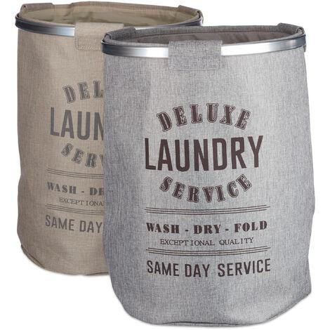 Relaxdays Laundry Hamper Set of 2, Vintage Design, XL Clothes Bag, H x Ø: 60 x 45 cm (80 L), Linen, Grey/Beige
