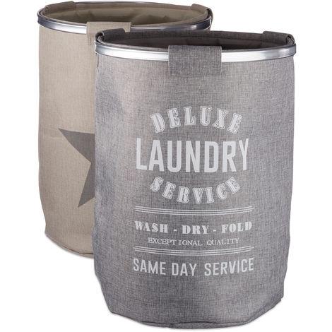 Relaxdays Laundry Hamper Set of 2, Vintage Star Design, XL Clothes Bag, H x Ø: 60 x 45 cm (80 L), Linen, Grey-Beige