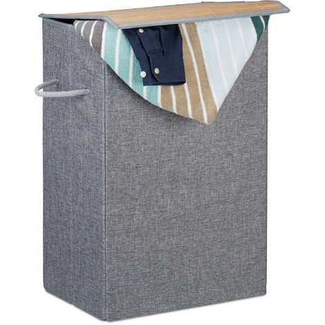 Relaxdays Laundry Hamper with Hook and Loop Lid, Fabric, 2 Handles, Portable, 60 L Capacity, HWD 60x40x30 cm, Grey