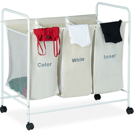 Relaxdays Laundry Sorter with 3 Labelled Compartments, Casters with Brakes, 100L Capacity, HxWxD 76 x 80 x 46cm, Beige
