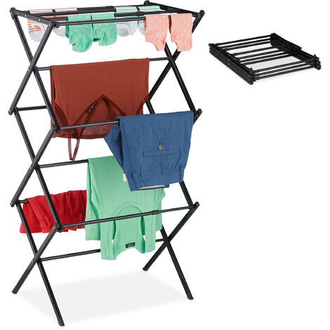 Relaxdays Laundry Stand, Foldable & Extendable Tower, 11 Rails, Space-saving Clothes Drying Rack, Metal, Black