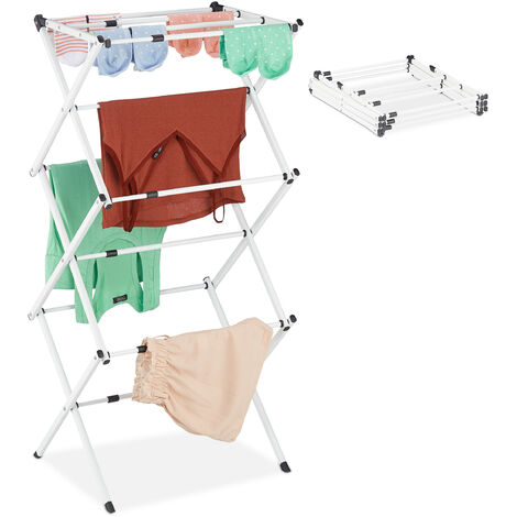 Relaxdays Laundry Stand, Foldable & Extendable Tower, 11 Rails, Space-saving Clothes Drying Rack, Metal, White