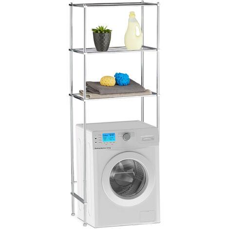"main image of ""Relaxdays Laundry Storage Shelf, Bathroom Rack with 3 Shelves, Chrome, HWD: 162 x 63 x 30 cm, Silver"""