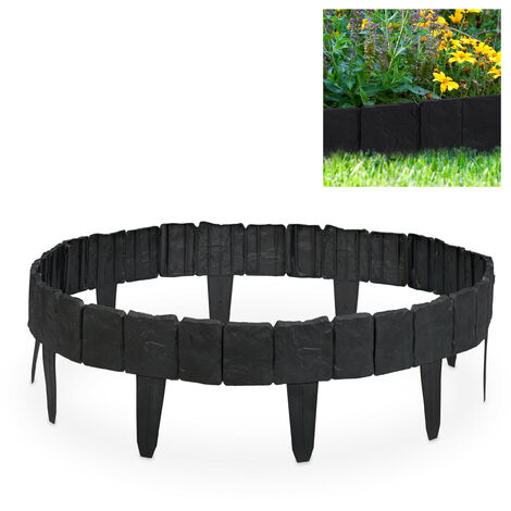 Relaxdays Lawn Edging with Stone Design, Decorative Interlocking Fence for Flowerbeds & Lawn, Plastic, 10 cm, Dark Grey