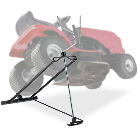 "main image of ""Relaxdays Lawn Mower Jack, 400kg, Maintenance Lifting Tool Ride-On Garden Tractor, Adjustable Tilt/Height, Steel, Black"""