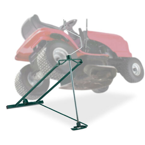 "main image of ""Relaxdays Lawn Mower Jack, 400kg, Maintenance Lifting Tool Ride-On Garden Tractor, Adjustable Tilt/Height, Steel, Green"""