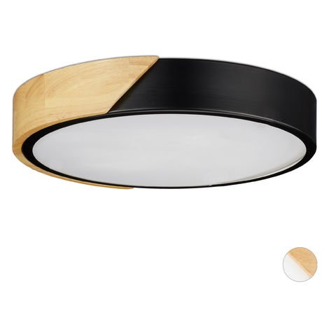 Relaxdays LED Ceiling Light, 18W, Round Ceiling Lamp, Metal & Wood, H x D 5 x 30 cm, Black