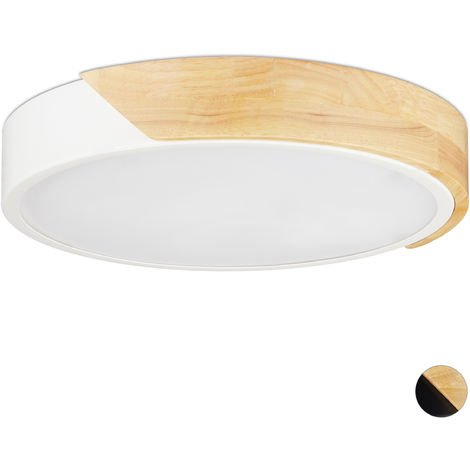 Relaxdays LED Ceiling Light, 18W, Round Ceiling Lamp, Metal & Wood, H x D 5 x 30 cm, White