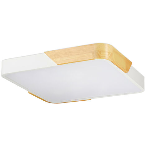 Relaxdays LED Ceiling Light, Square Ceiling Lamp, Wood & Metal, 24 W LED Lighting, HWD 5 x 40 x 40 cm, White