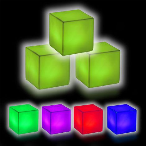 Relaxdays LED Dice Mood Lighting, LED Night Light, 3D Decor Light, 3-Piece Set, Colour Switch, HWD 6.5x6.5x6.5 cm, White
