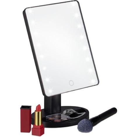 Relaxdays LED Illuminated Cosmetic Mirror with Stand, Adjustable, Battery-operated, H x B x T 28.5 x 17 x 12 cm Black