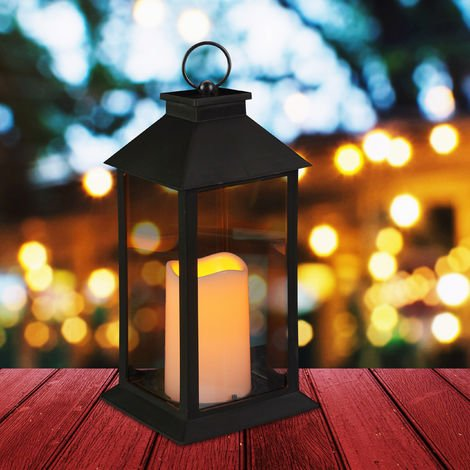 Relaxdays LED Lantern, Candle With Flame Effect Decor, Suitable For Outdoors, Yesteryear Decorative Lantern, H: 30 cm, Black