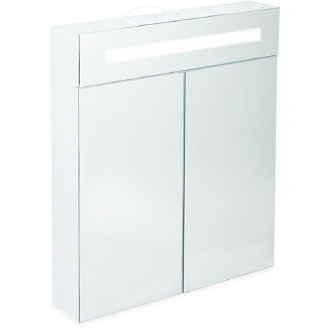 Relaxdays LED Mirror Cabinet, 2 Doors, 3 Compartments, Power Socket, LED Wall Shelf, Steel H x W x D: 67 x 60 x 12 cm, White