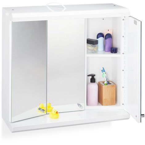 Relaxdays LED Mirror Cabinet, 3 Doors, 6 Compartments, Plug Socket, Hanging Bathroom Shelf H x W x D: 58 x 60 x 23 cm, White