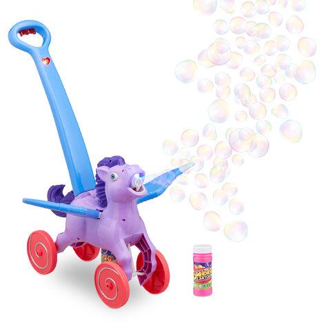 Relaxdays LED Pegasus Soap Bubble Maker, 2 x Refill Liquid, Push Toy for Kids, Bubble Horse, Electric, Purple
