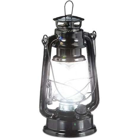 Relaxdays LED Storm Lamp, Retro Lantern as Window Decoration or for the Garden, Battery Powered, Black