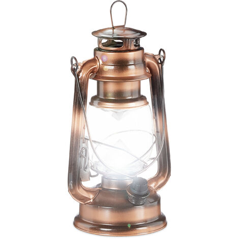 Relaxdays LED Storm Lamp, Retro Lantern as Window Decoration or for the Garden, Battery Powered, Copper