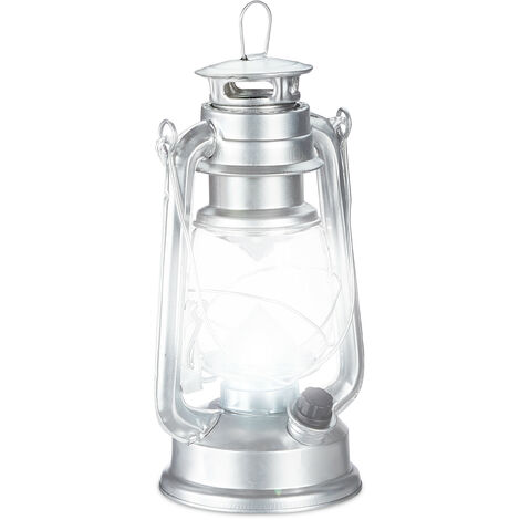 Relaxdays LED Storm Lamp, Retro Lantern as Window Decoration or for the Garden, Battery Powered, Silver