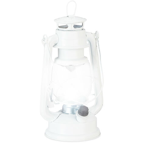 Relaxdays LED Storm Lamp, Retro Lantern as Window Decoration or for the Garden, Battery Powered, White