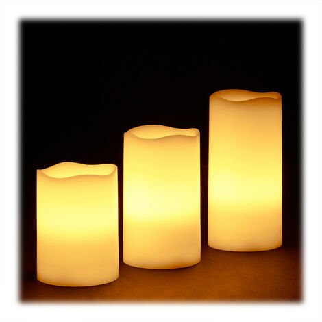 Relaxdays LED Wax Candles Set, 3 Electric Flameless Candles, Flickering, Battery-Powered, Bright, HxWxD: 13 x8x8 cm, Cream
