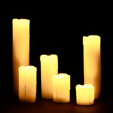 Relaxdays LED Wax Candles Set, 6 Electric Flameless Candles, Flickering, Battery-Powered, 5 cm Diameter, Cream