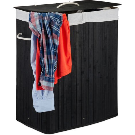 Relaxdays Lidded Bamboo Laundry Hamper, 100 L, Clothes Container, 2 Compartments, Folding, Rectangular Basket, Bathroom, Black