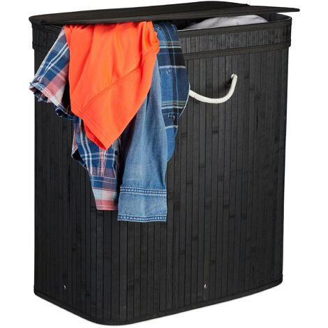 Relaxdays Lidded Laundry Hamper, 2 Compartments, Partitioned Bag, Ventilated, 72 Litres, Bamboo Basket, Black