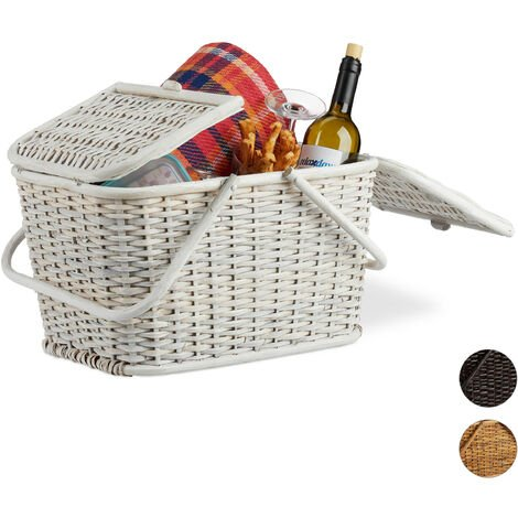 Relaxdays Lidded Picnic Basket. Braided with Handles, Big Shopping Basket, Hand-Woven, Rattan, White